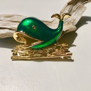 Jewelry - Vintage Green Whale in the Ocean Gold Brooch Pin